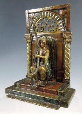Vienna Bronze Harp Player