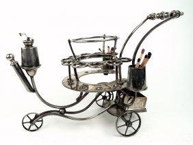 Silver Plate Push Cart Cigar Lighter & Holder