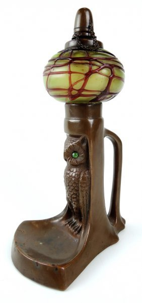 Bronze Owl & Palme Konig Glass Cigar Lighter