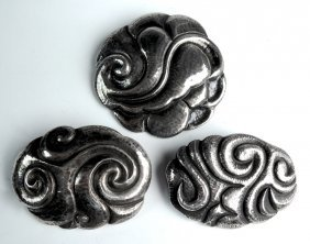 Set Of 3 Handwrought German Or Austrian Brooches
