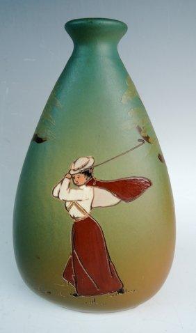 Weller Dickensware Pottery Female Golfer Vase