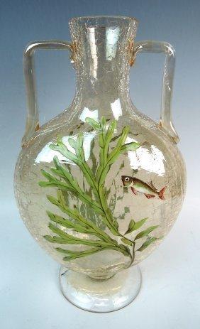 Moser Vase W Enameled Fish & Seaweed