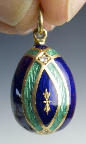 Faberge Enamel Egg 18k Gold & Diamond Pendant