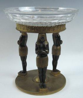 Egyptian Revival Bronze Tazza Centerpiece Bowl
