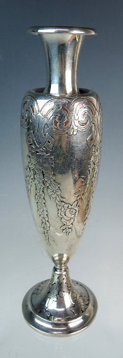 Sgd Tiffany Mixed Metal Sterling & Copper Vase