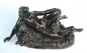 Erotic Bronze Satyr Devil & Nymph