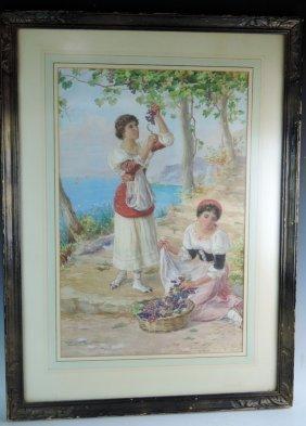 Italian Watercolor Painting Sgd Luigi Olivetti