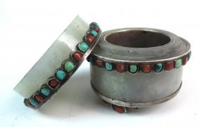 Antique Tibetan Jade Box W Coral & Turquoise