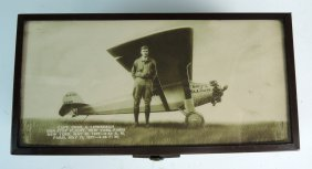 Charles Lindbergh Photograph & Metal Box