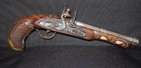 """Rare Antique Flintlock Pistol 12"""" Inlaid W. Silver Wire"""