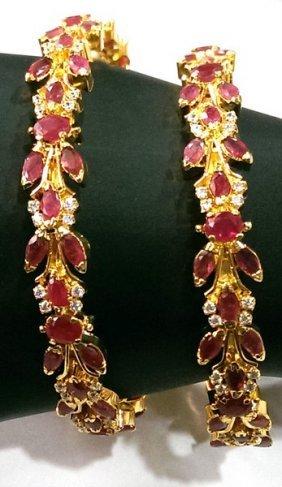 Exotic Ruby & French Crystal Bangle Bracelets