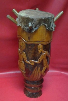 Ancient C1920 African Tribal Drum Lg Hand-carved With