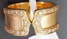 Fine 18k Yellow Gold & Genuine Diamond Band Ring 10