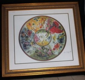 Lithograph, Paris Opera Ceiling By Marc Chagall In Gold