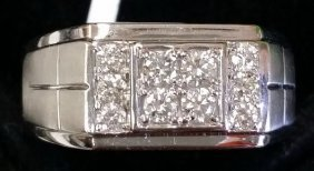 Certified Solid 14k White Gold & Genuine Diamond Band