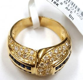 Certified 18k Gold Diamond & Blue Sapphire Ring