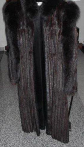 Luxurious French Mink Coat Full-length W. Black Fox