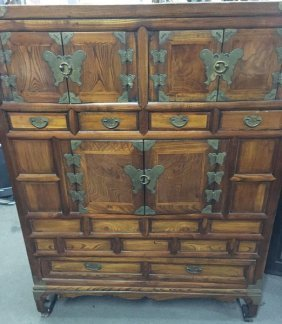 "Antique Korean Elmwood Wedding Cabinet With ""butterfly"""