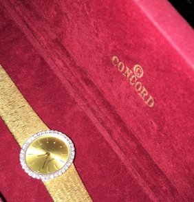 Certified Solid 18k Gold Ladies Concord & Diamond