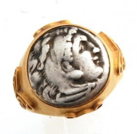 Ancient Gold Coin Ring 20k Alexander The Great The