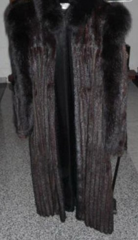 Luxurious French Full Mink Coat W. Black Fox Trim By