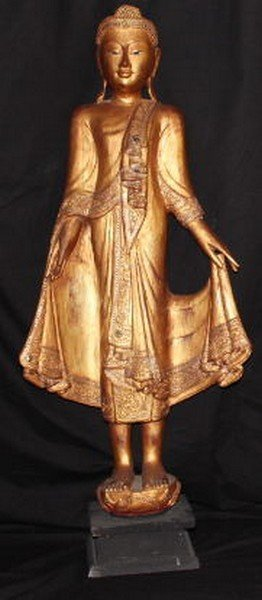 Ancient Gilt Wooden Standing Burmese Buddha Shakyamun
