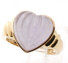 Certified Estate 14k Gold Natural Icy Lavendar Jade