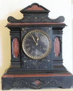 """Antique Lg French Solid Slate Mantle Clock 22x17"""","""