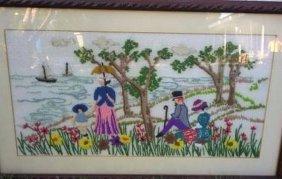 "Antique English Crochet Needlework Framed 25x15"""
