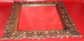 Ancient Indo-persian-mughal Hand Carved Wood Frame W
