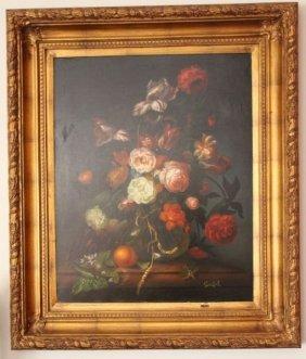 "Flemish Signed Large Oil On Canvas ""blumen In Einer"