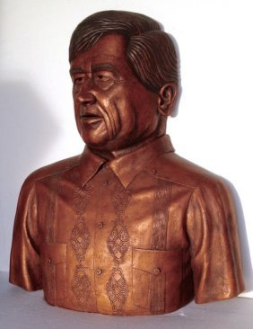 Vintage C1995 Cesar Chavez Ceramic Wall Bust By