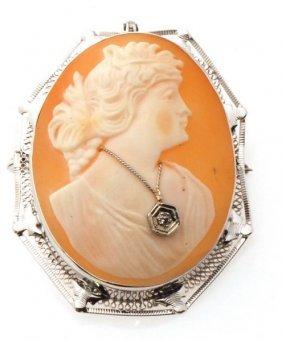 Certified European Antique Diamond Cameo