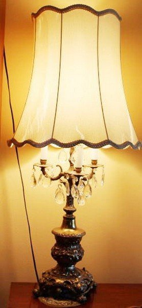 Antique French Bronze Lamp With French Crystals 40x17""