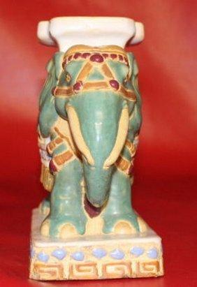Antique Chinese Glazed Ceramic Elephant Hand Painted
