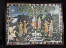 Large 19th C Exotic Depiction Of Lord Krishna & Lady