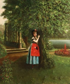ANTIQUE AMERICAN PAINTING YOUNG WOMAN IN PARK
