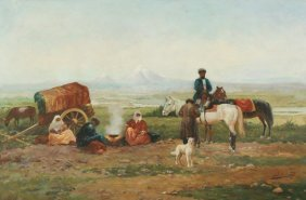 ZOMMER ANTIQUE RUSSIAN PAINTING BEDOUINS