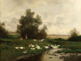 LINS ANTIQUE GERMAN PAINTING GEESE