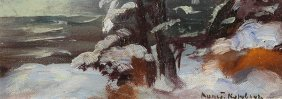 KOROVIN ANTIQUE RUSSIAN PAINTING WINTER