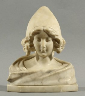 19TH C. MARBLE BUST OF A YOUNG WOMAN
