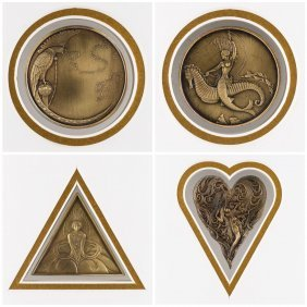 A Set Of 4 Medallions By Erte (russian-french