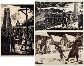 A Series Of Three Linocuts By Karl Bush