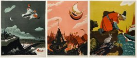 Three Color Lithographs By Yevgenia Endrikson (russian