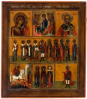A Russian Icon With Selected Saints And Kazanskaya