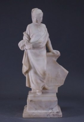 Antonio Frilli Italian Marble Sculpture Of Dante