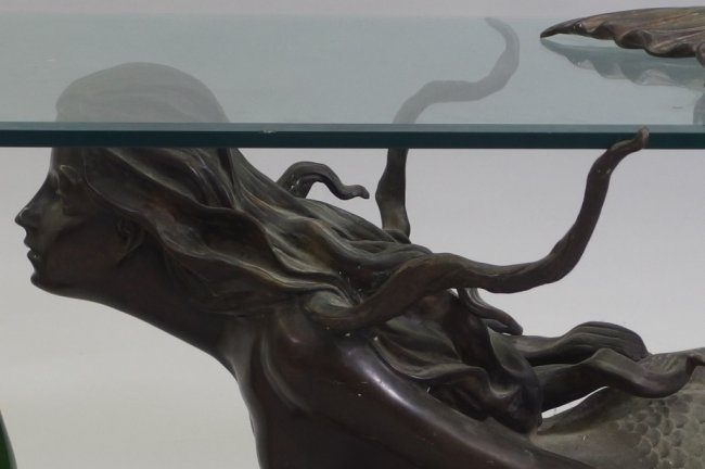 3 4 life size bronze mermaid glass coffee table lot 99 Mermaid coffee table