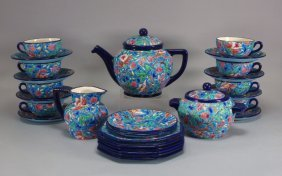 French Longwy Porcelain Floral Tea & Dessert Set