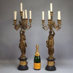 Pr. Moreau European Gilt Bronze Candelabra