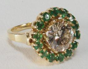 18kt Gold 1.98 Ct Diamond & Emerald Ladies Ring